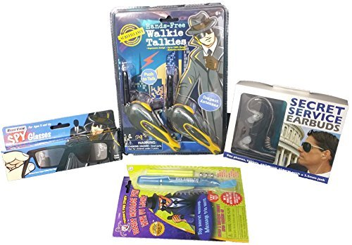 Kids Top Secret Spy Kit - Super Spy Mega Edition - 4 Pieces Includes Hands-Free Walkie Talkies, Rear-View Vision Glasses, Secret Service Ear Pieces and Secret Message UV Pen