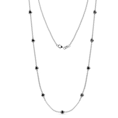 643b7ef926810d Image Unavailable. Image not available for. Color: TriJewels Black Diamond  9 Station Necklace 2.43 cttw in 14K White Gold