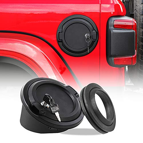 Fuel Filler Cover JeCar Locking Gas Tank Door Aluminum Exterior Accessories for 2018-2019 Jeep Wrangler JL & Unlimited