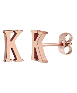 ELBLUVF 18k Rose Gold Plated Stainless-steel Initial Earrings 26 Initials Stud Earrings (K)