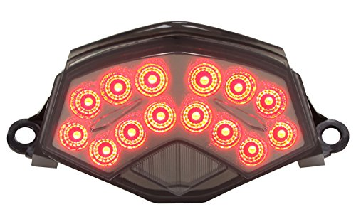 (2009-2012 Kawasaki Ninja ZX-6R 2008-2010 ZX-10R 2007-2009 Z1000 Integrated Sequential LED Tail Lights Smoke Lens)