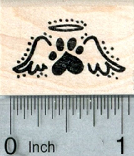 Heart Paw Print Rubber Stamp, Tiny Pet Loss Angel Wings
