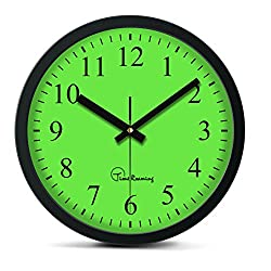 Time Roaming 10 Modern Decor Silent Metal Wall Clock Digital Style, Arabic Digital(Green)