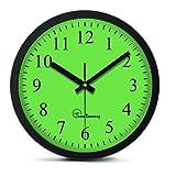 "Time Roaming 10"" Modern Decor Silent Metal Wall Clock Digital Style, Arabic Digital(Green)"