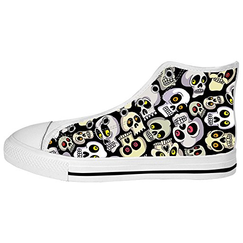 Custom skull Womens Canvas shoes Schuhe Lace-up High-top Footwear Sneakers B