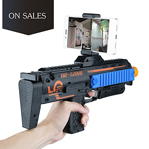3D 360AR Games Gun Augmented Reality VR Gun for Video Game with Wireless Bluetooth Connecting IOS, Android Smart Phone / App Games Action & Lerning