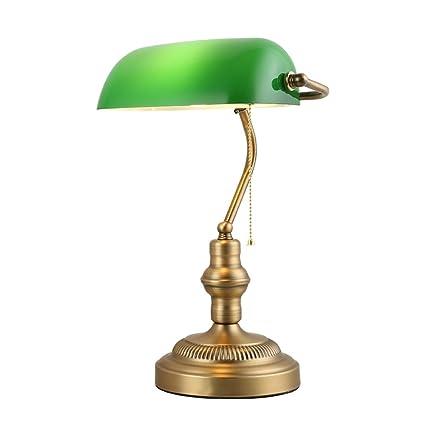 XIANGYU Lámpara de escritorio antigua tradicional de los banqueros de bronce sombra de cristal verde estudio de la sala de estar de la sala de estar ...