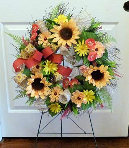 Cemetery Wreath Arrangement, Summer Cemetery Wreath, Deco Mesh Wreaths, Wreath with Sunflowers