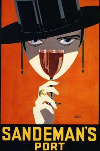GIRL SANDEMAN PORT WINE DRINK PORTUGUESE WOMAN BLACK HAT VINTAGE POSTER REPRO (Best Portuguese Port Wine)