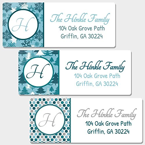 Christmas Envelope Labels (60 Personalized Blue & Silver Christmas Return Address Labels - Christmas Themed Envelope Labels (RT3))