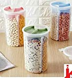 Zollyss Transparent Plastic Lock Food Storage Dispenser Airtight Container Jar with 4 Sections for Cereals, Snacks, Pulses