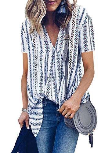 HOTAPEI Ladies Summer Blouses for Women Casual V Neck Floral Short Sleeve Pockets Chiffon Tee Shirts Tunic Tops X-Large
