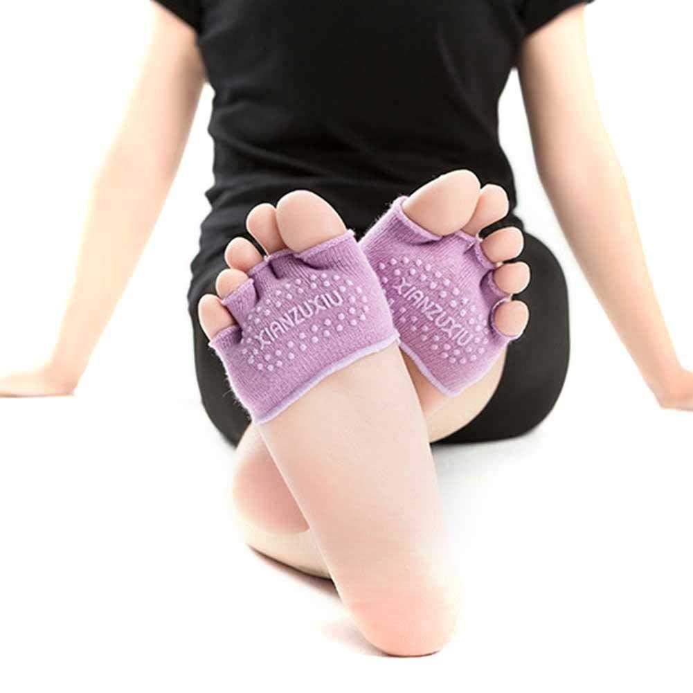 Rlorie Half Toe Ballerina Calcetines de Yoga,Dedo Completo Media Palma Calcetines de Yoga Calcetines de algod/ón de Las Mujeres,Mujer Cinco Calcetines de los Dedos para Pilates Yoga Danza Gimnasio