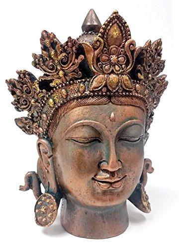 Bronze Finished Tibet Buddha Bust Meditating Peace Harmony (Temple Buddha Head)