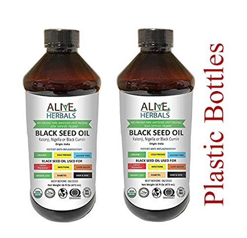 Alive Herbals Black Seed Oil Organic Cold Pressed - 100% Raw Unfiltered, Vegan & Non-GMO, No Preservatives & Artificial Color.  (Plastic Bottle 16 OZ Pack of 2)