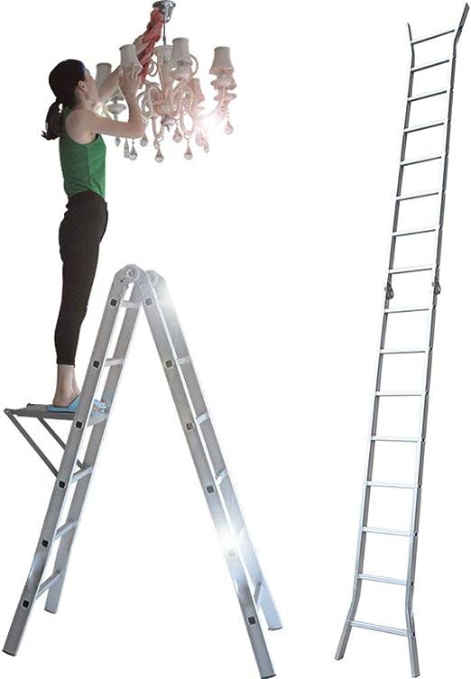 Escalera Plegable - Extensión Extensible De Aluminio Escalera Trapezoidal Plegable, Carga 330 Libras, En Línea con Las Normas En131 Y CE,4.7M: Amazon.es: Jardín