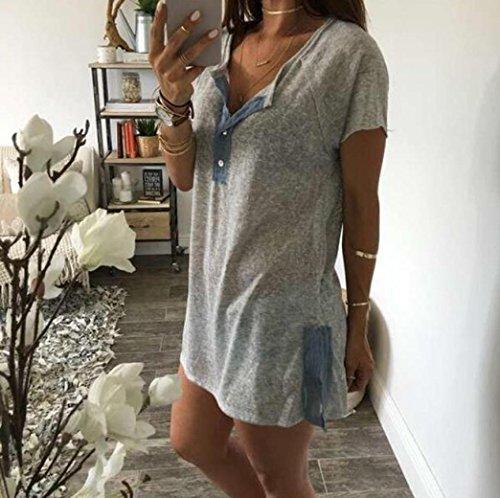 Sweatshirts de Mode Shirts SHOBDW Chemisiers Blouses Tops Loose T Casual Tops 2018 Femme Gris qSzPI
