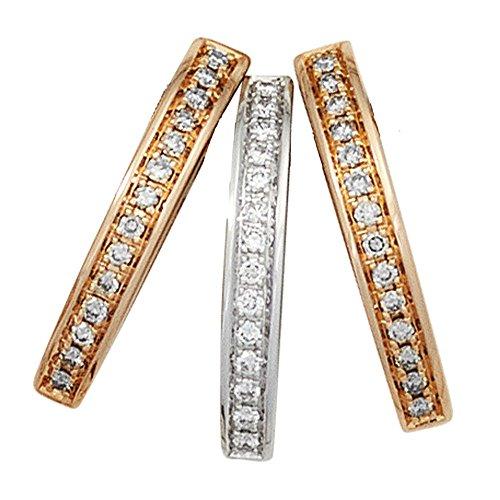 JOBO pendentif en or rose et or blanc 585 sertie de diamants brillants 0,24ct à 42.