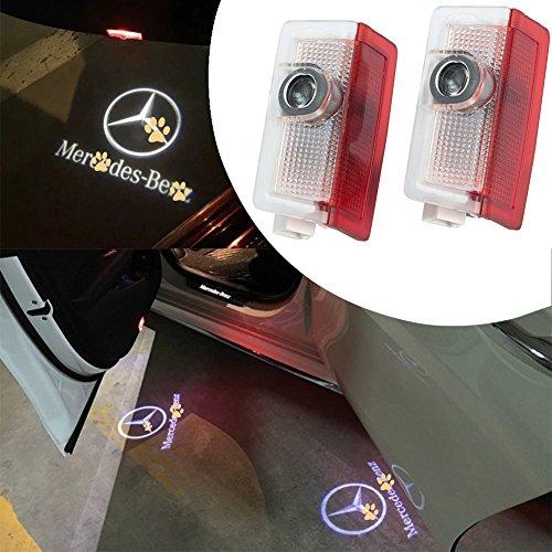 JKCOVER For Original Mercedes Benz, 2 Pcs Car Door LED Welcome Light with DIY 3d Light of Ghost Shadow (Mercedes Benz Door Check)