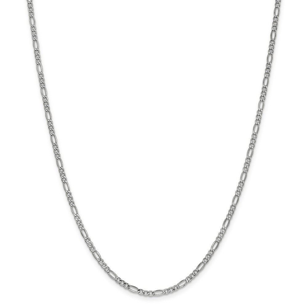 14k White Gold 2.5mm Figaro Chain Necklace or Bracelet BC119