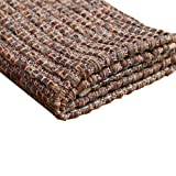 Carpet Thick Coffee Color Cotton Thread Hand-Woven Machine Washable Bedroom Bedside Carpet Floor Mats,145×200cm