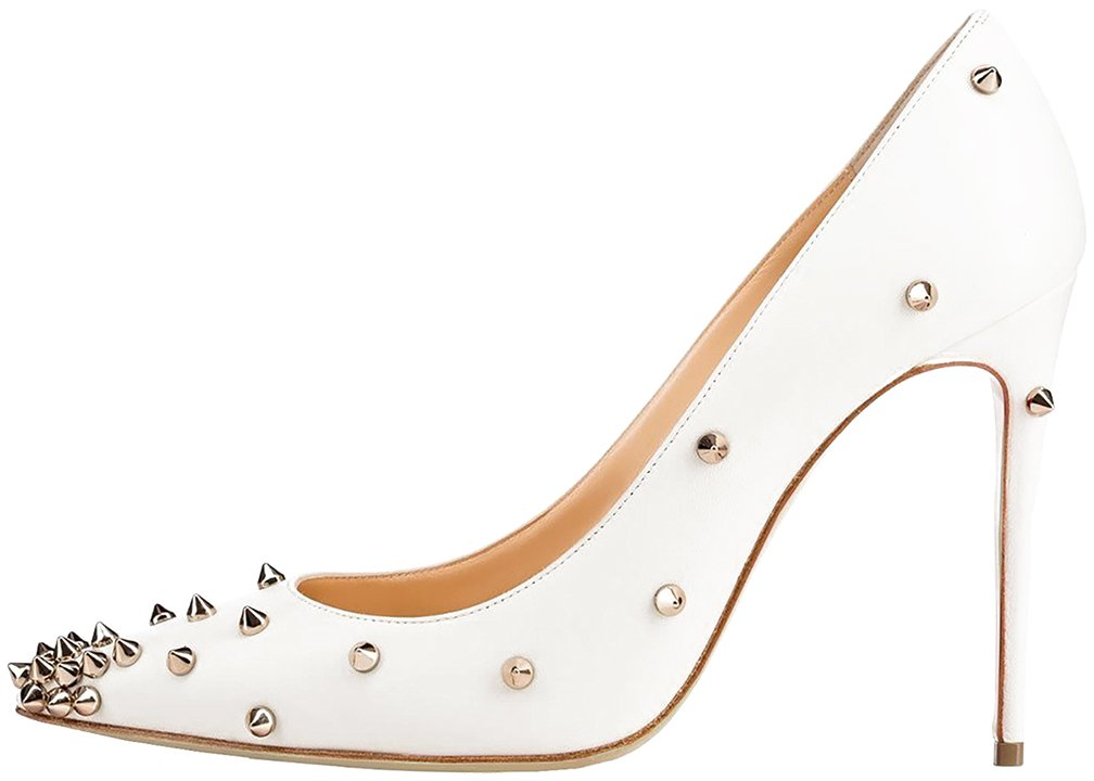 Calaier Mujer Casnowy Tacón De Aguja 12CM Sintético Ponerse Zapatos de Tacón 40.5|Blanco