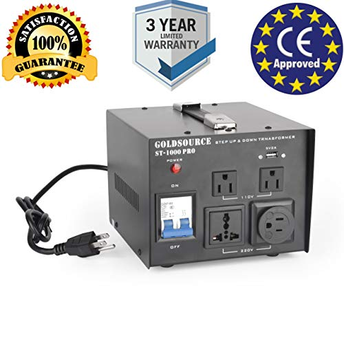 1000W Auto Step Up & Step Down Voltage Transformer Converter, ST-Pro Series Heavy-Duty AC 110/220V Converter with US Standard, Universal, Schuko AC Outlets & DC 5V USB Port by Goldsource ()