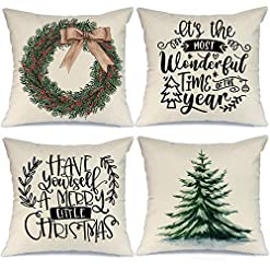 Christmas Farmhouse Home Decor AENEY Christmas Decorations Pillow Covers 18×18 Set of 4, Christmas Tree Wreath Rustic Winter Holiday Throw Pillows… farmhouse christmas pillow covers