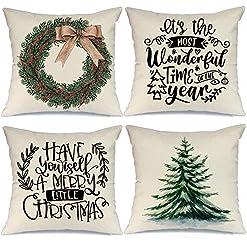 Christmas Farmhouse Home Decor AENEY Christmas Pillow Covers 18×18 Set of 4, Christmas Tree Wreath Rustic Winter Holiday Throw Pillows Farmhouse… farmhouse christmas pillow covers