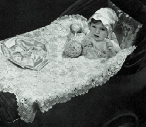 CROCHETED CARRIAGE COVER - A Vintage Crochet Pattern from the Mid 1900's Kindle Ebook Download (Baby, Babies, Infant, Stroller, Blanket, Wrap, Shower Gift, ... Bedding, Yarn, Crafts, Old-Fashioned)