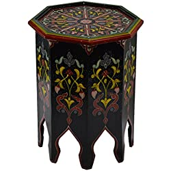 Moroccan Handmade Wood Table Side Delicate Hand Painted Black Exquisite