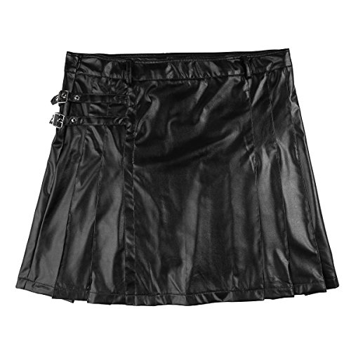 YiZYiF Men's Black Leather Gladiator Pleated Utility Kilt Flat Front Skirt Costume Black Medium