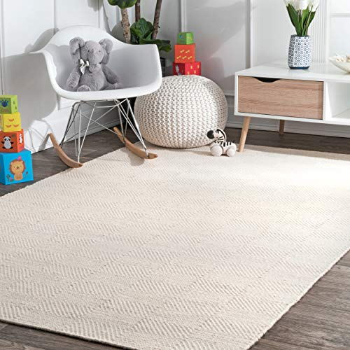 nuLOOM Hand Tufted Agoja Wool Rug, 5' x 8', Cream