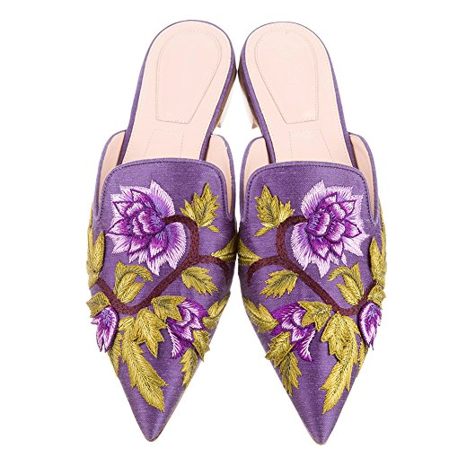 Mavirs Loafers For Women, Womens Loafers Velvet Backless Slip On Loafers Embroidery Mule Slippers Satin Purple