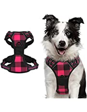 rabbitgoo Dog Harness, No-Pull Pet Harness with 2 Leash Clips, Adjustable Soft Padded Dog Vest, Reflective No-Choke Pet Oxford Vest with Easy Control Handle for Large Dogs, Plaid