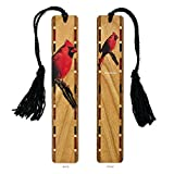 Colorful Wooden Bookmark - Cardinal with Black Rope Tassel - Search B079NMCY1X to see personalized version.