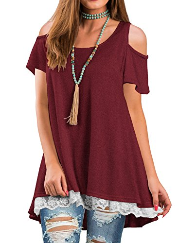 QIXING Women's Cold Shoulder Casual Tops Lace Hem Short Sleeve Tunic Blouse Wine Red-XL (Tunic Long Lace)