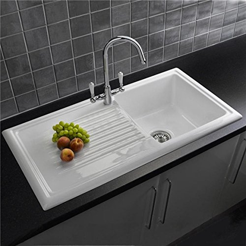Reginox RL304CW 1.0 Bowl White Ceramic Reversible Kitchen Sink U0026 Waste:  Amazon.co.uk: DIY U0026 Tools