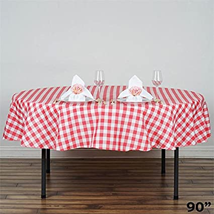 BalsaCircle 90 Inch Coral Round Gingham Checkered Polyester Tablecloth Table  Linens Wedding Party Events Decorations