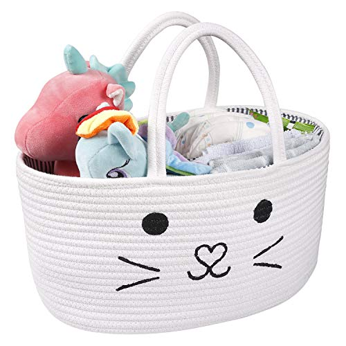LEEPES Baby Diaper Caddy Organizer – Stylish Rope Nursery Storage Bin – Cotton Canvas Portable Diaper Storage Basket for Changing Table & Car – Top Baby Shower Gift Cat Face Design