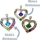 "NANA Mother & Child Heart Pendant/Necklace 1-6 Stones w/1mm 22"" Adj-Box Chain Sterling Silver W/Y/R plate"
