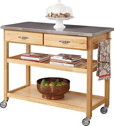 Kitchen Island with Stainless Steel Top 2 Utility Drawers on Metal Glides with Stops Solid Bottom Open Storage Area Brushed Steel Handles 4 Coasters Can be Stained 36' Stainless Steel High Shelf