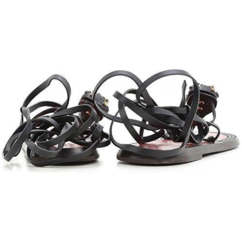 Sandalias planas de tiras Valentino mujer en cuero negro - Número de modelo: KWOSO142 VOK 0NO negro
