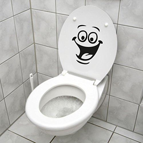 Smiley Face Wc Toilet Decal Wall Mural Art Decor Funny Bathroom Sticker Viny