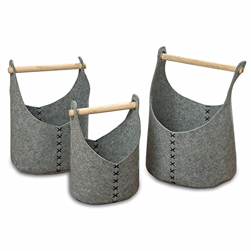 WHW Whole House Worlds West Coast Felt Basket Buckets, Set of 3, Super Soft, Thick and Sturdy, Remove-able Natural Wood Handles, Stand-up Sides, Metal Grommets, 20, 17 and 10 Inches - Bucket Felt
