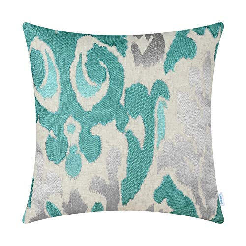 - CaliTime High Class Throw Pillow Cover Case for Couch Sofa Home Decoration Vintage Ikat Style Applique Embroidered 16 X 16 Inches Teal Silver