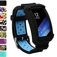 Wonlex Samsung Gear Fit2 Band, Correas de reloj de repuesto de silicona para Galaxy Gear Fit2 SM-R360 y Fit 2 Pro para mujeres (Negro /Azul)