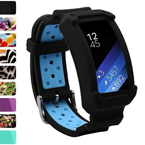 Wonlex Gear Fit2 Band, Silicone Replacement Watch Bands Strap for Galaxy Gear Fit2 SM-R360 & Fit 2 Pro for Women & Men (Black/Blue)