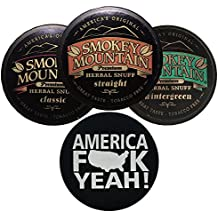 Smokey Mountain Herbal Snuff/Chew Straight, Classic, and Wintergreen - 3ct - Includes DC Skin Can Cover (America Skin)
