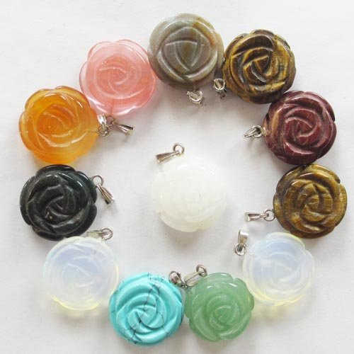 Beautiful 12pcs Carved Mixed Gemstone Flower Pendant - Flower Beads Gemstone Carved